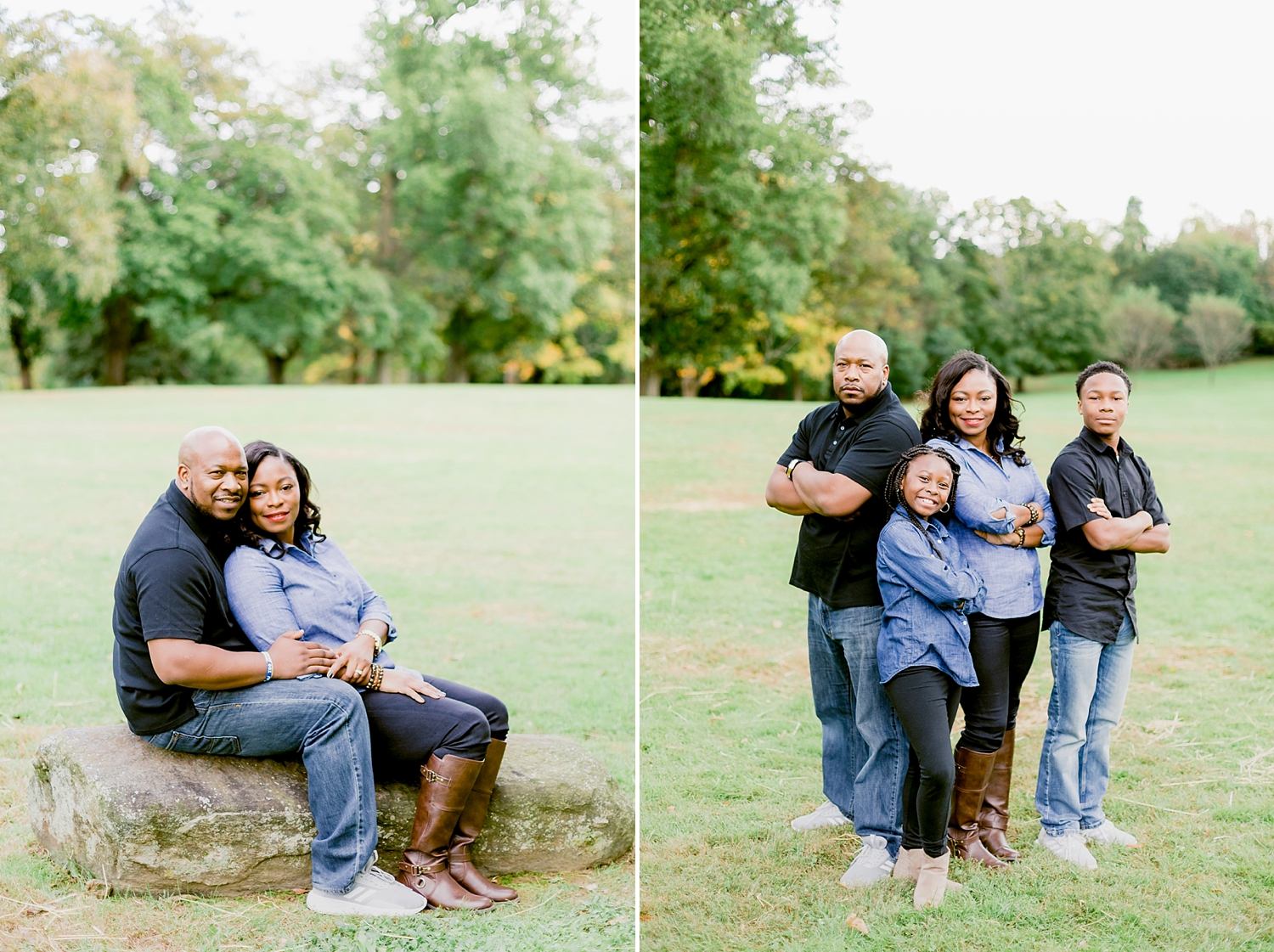 family of four posing in an open field for a family photo