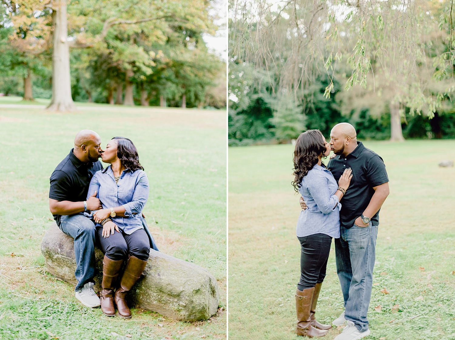 husband and wife share a kiss in a loving portrait
