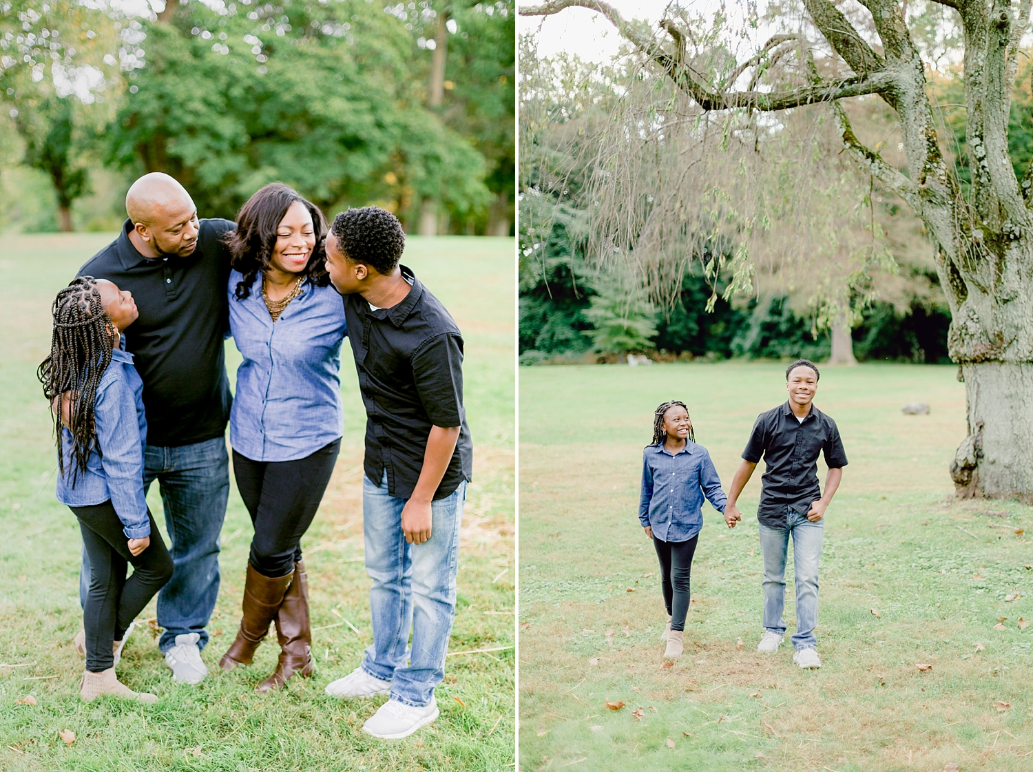 family embrace in a fun bear hug for family photo