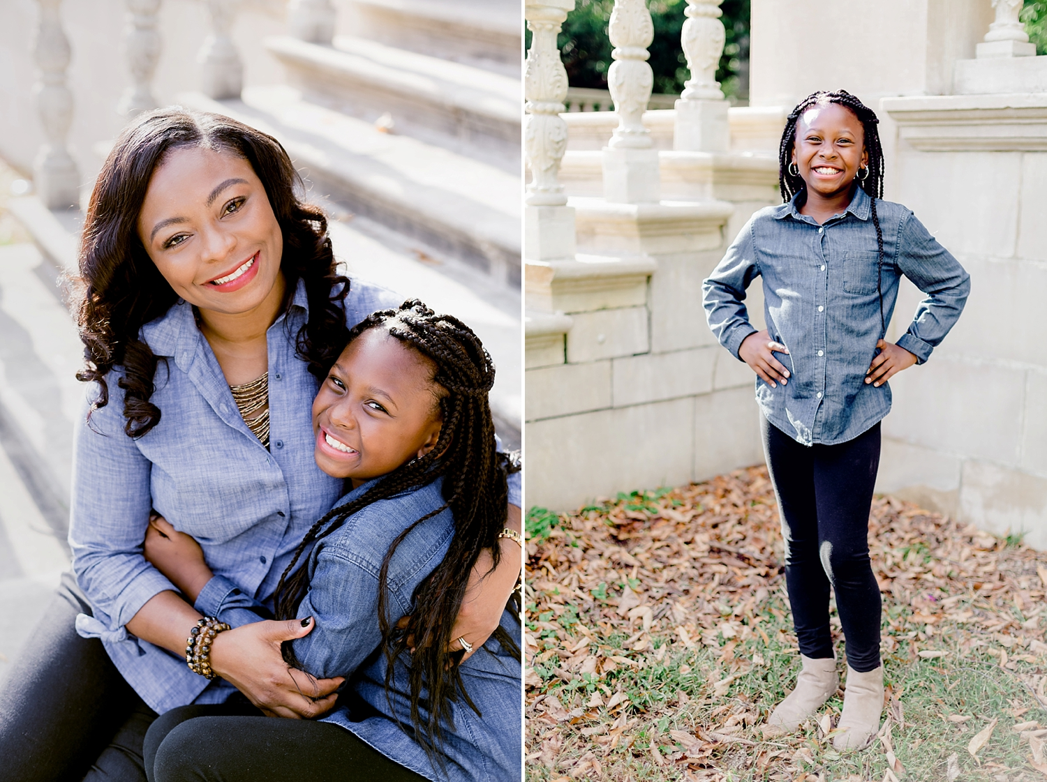 mother and daughter embraced in a hug for family photo