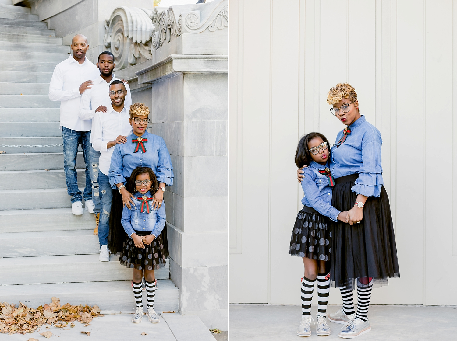 family standing on stone steps for photo