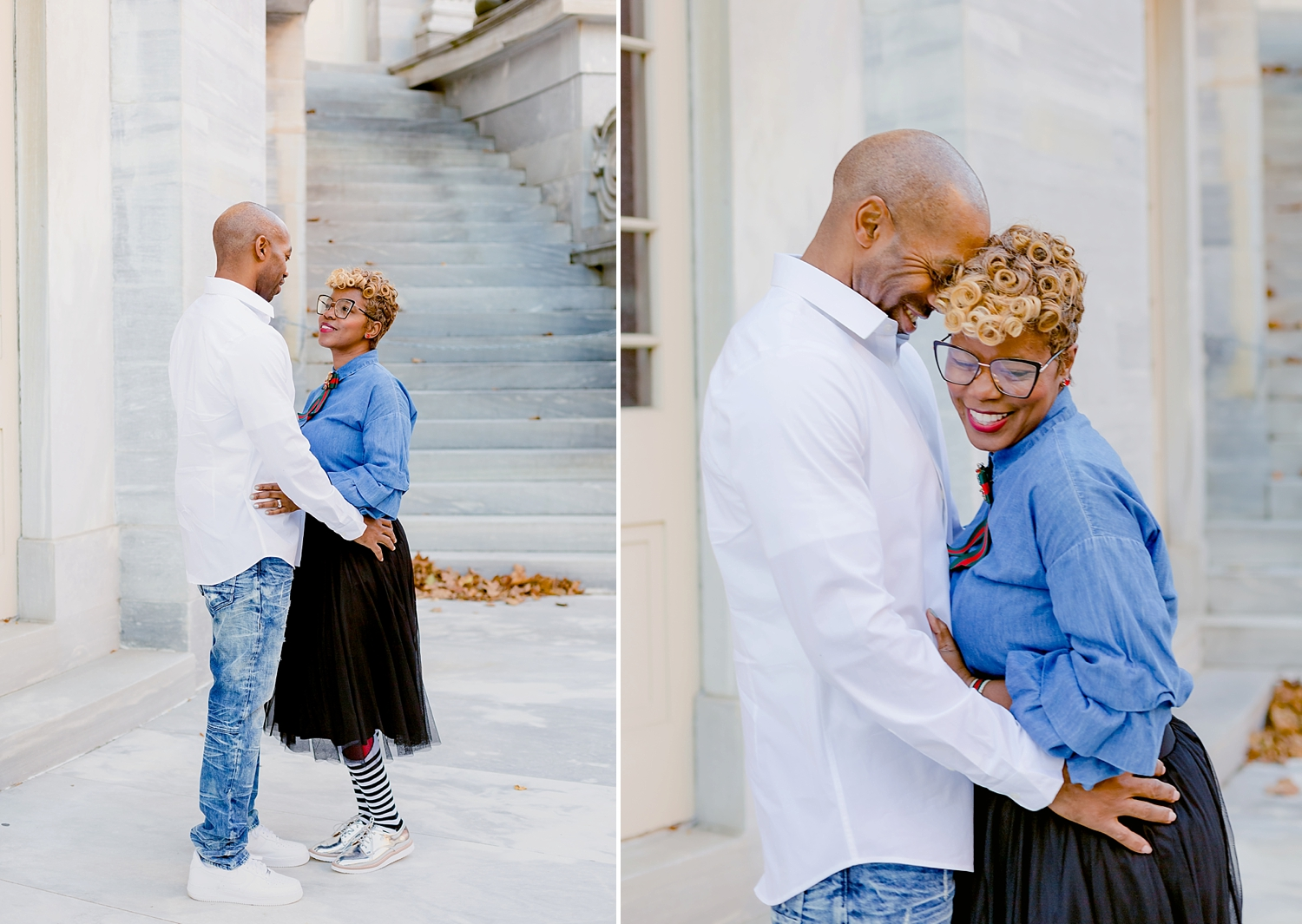 couple embracing in a romantic hug for photo