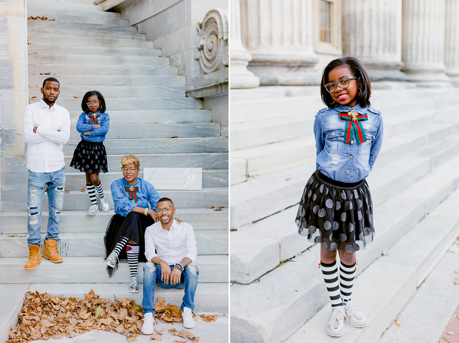 mother poses with her three children for family portrait