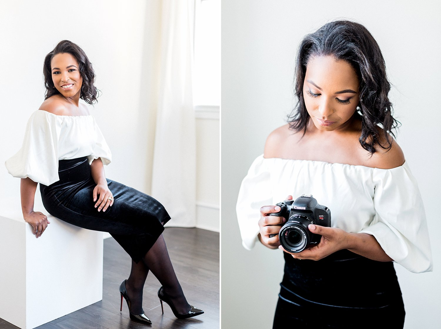 personal branding photo of creative female entrepreneur holding a canon camera in her hands