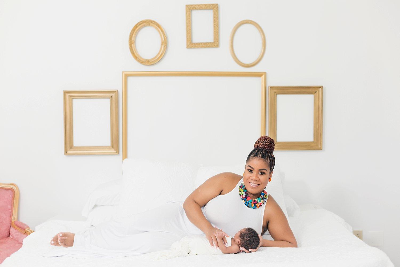 lifestyle family newborn portraits in minimalist studio