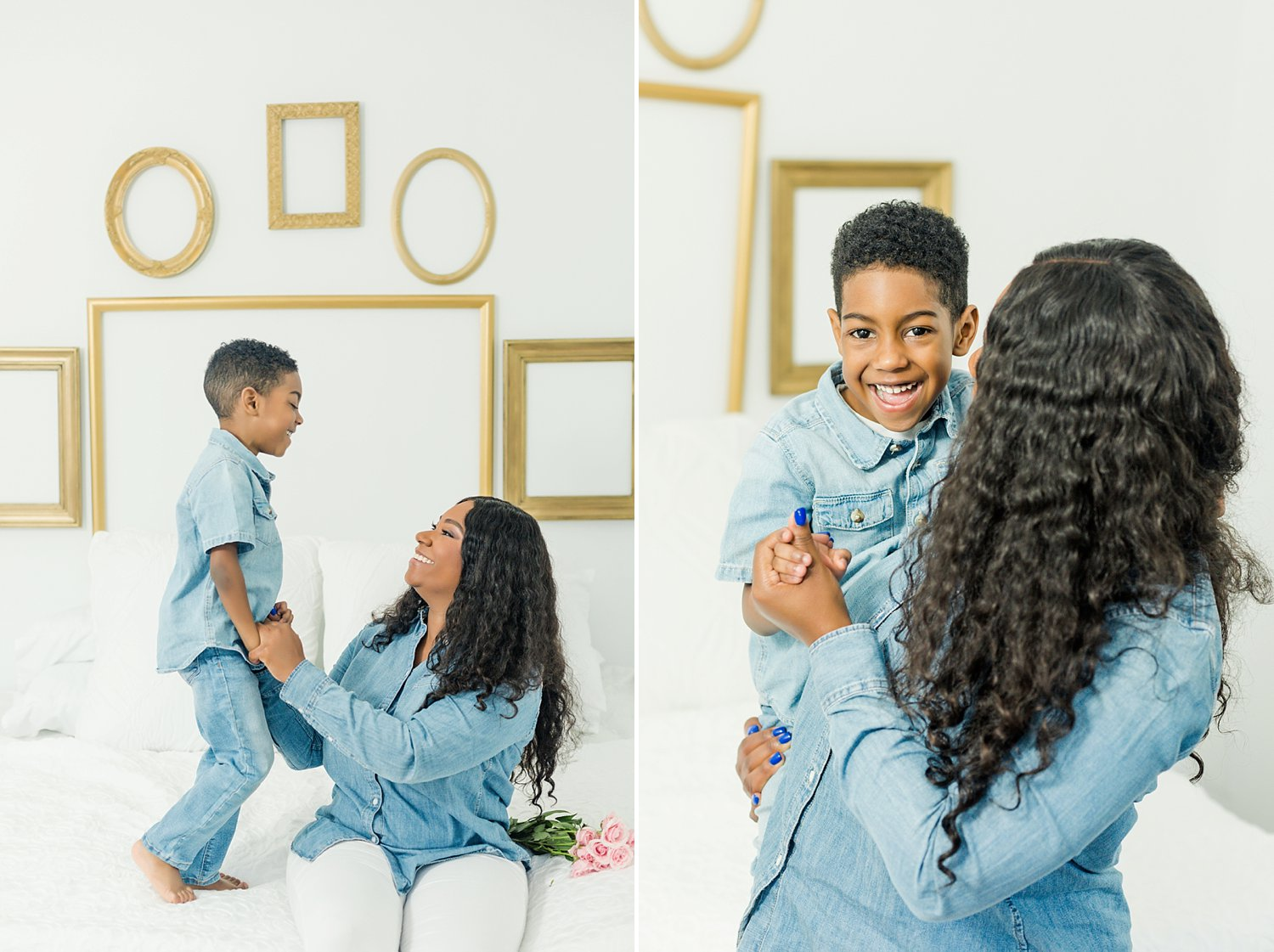 mother and son sharing a laugh while playing a game during their portrait session
