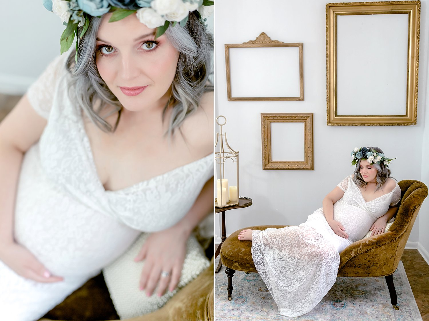 mother wears a blue flower crown and white dress in modern studio maternity session