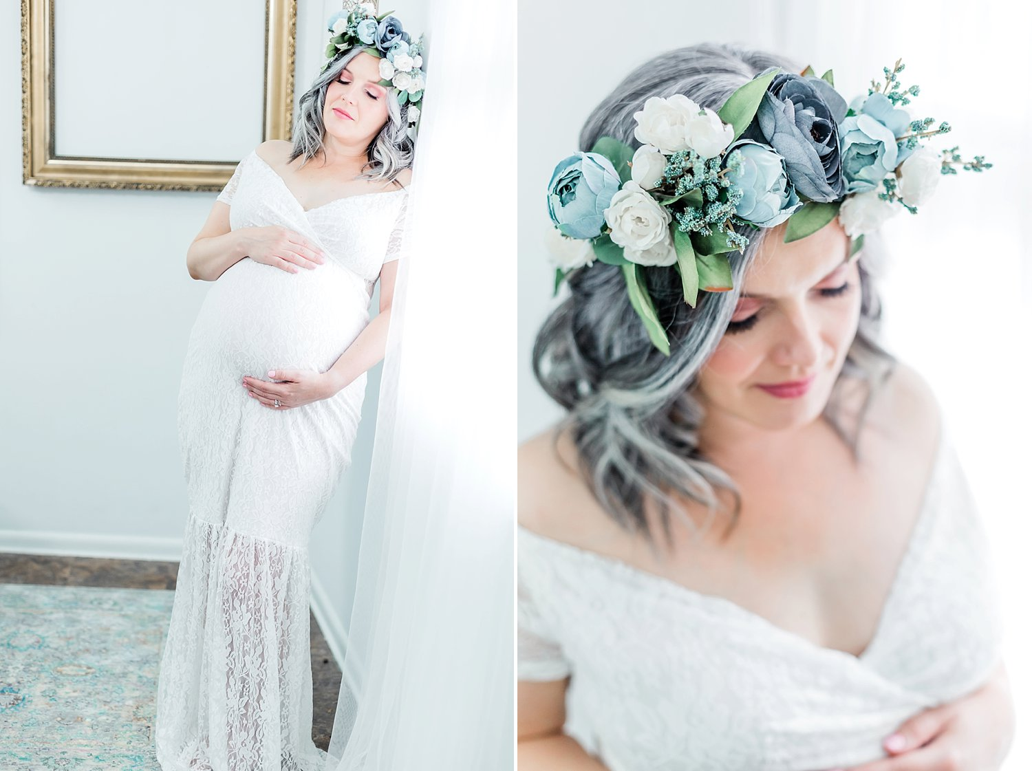mother wears a beautiful blue boho flower crown and lace dress for modern studio maternity session