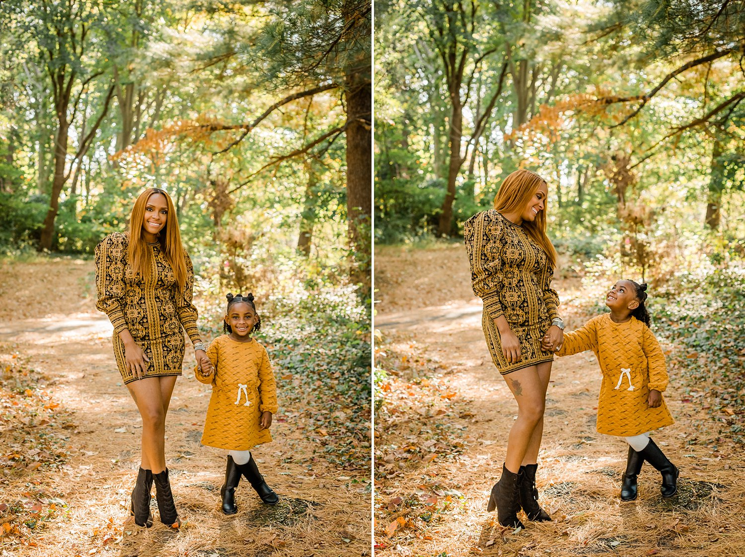 Mother and daughter wearing matching yellow dresses in fall mini session family photo session