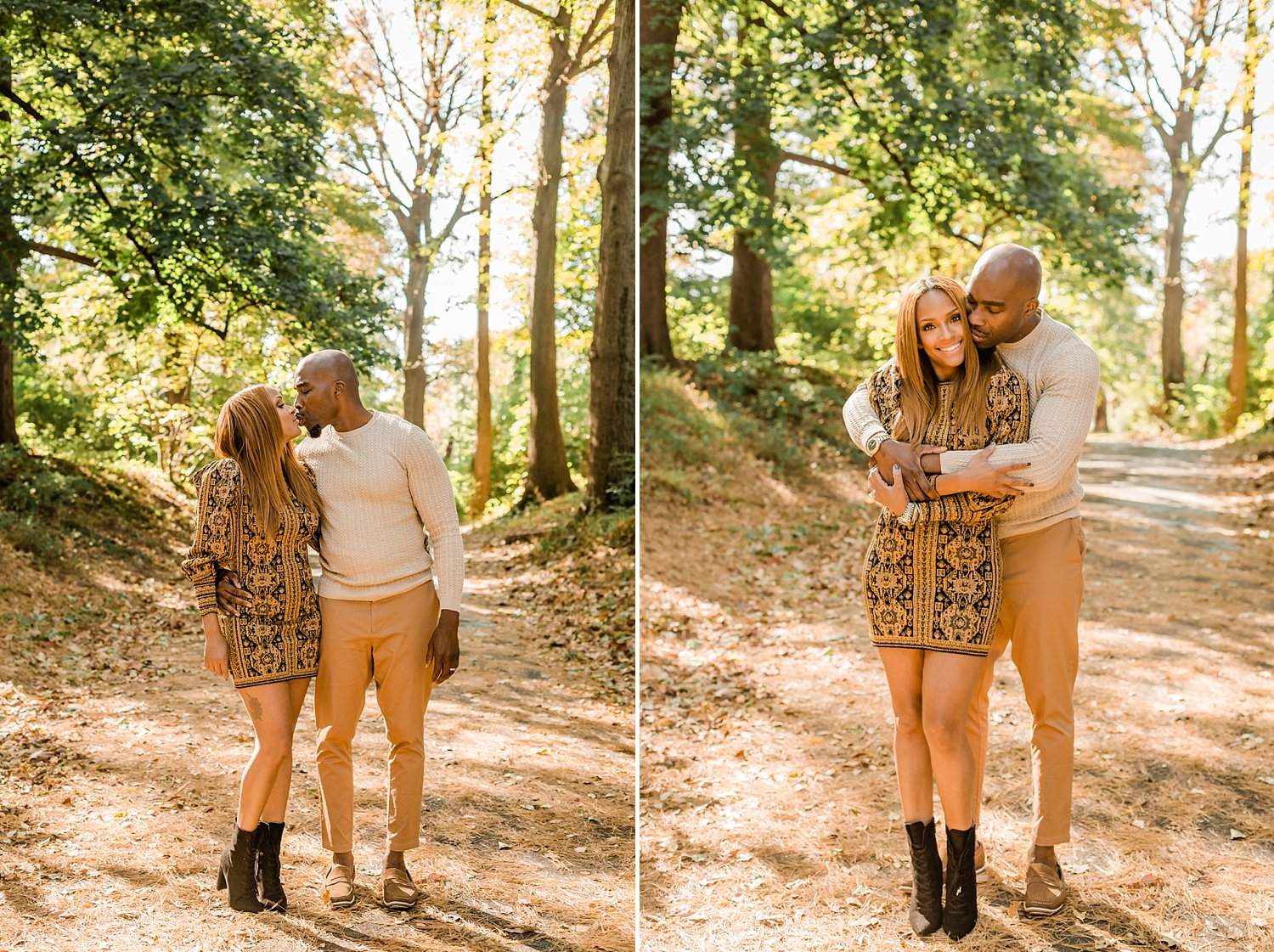 Fall couples portrait in Awbury Arboretum