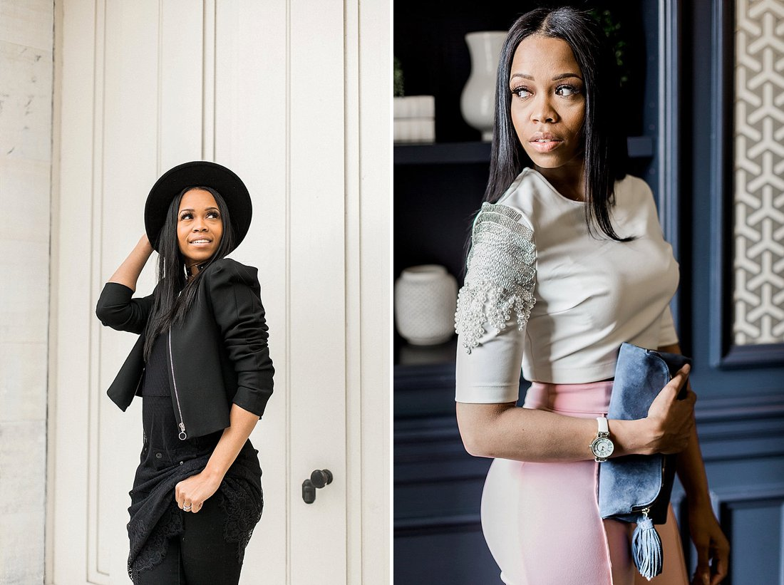 mom boss entrepreneur posing for fashionable personal brand photos in the city