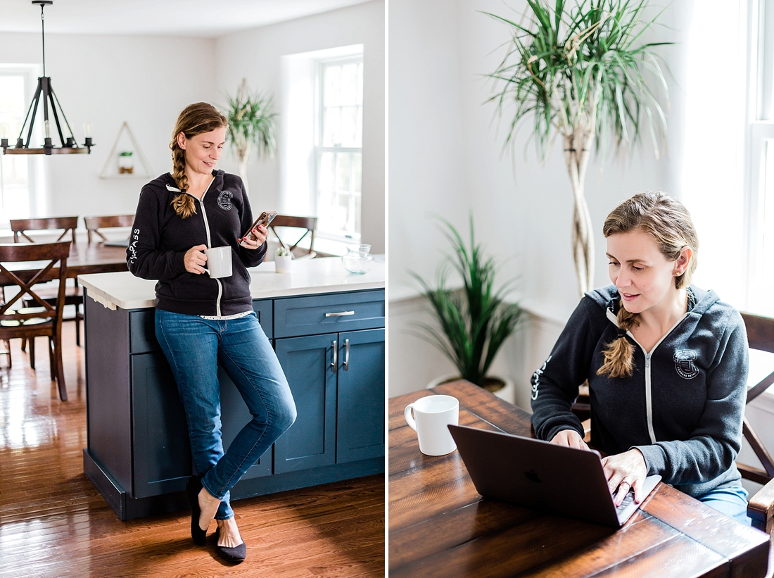 woman working from home in her grey sweatshirt for personal branding photos