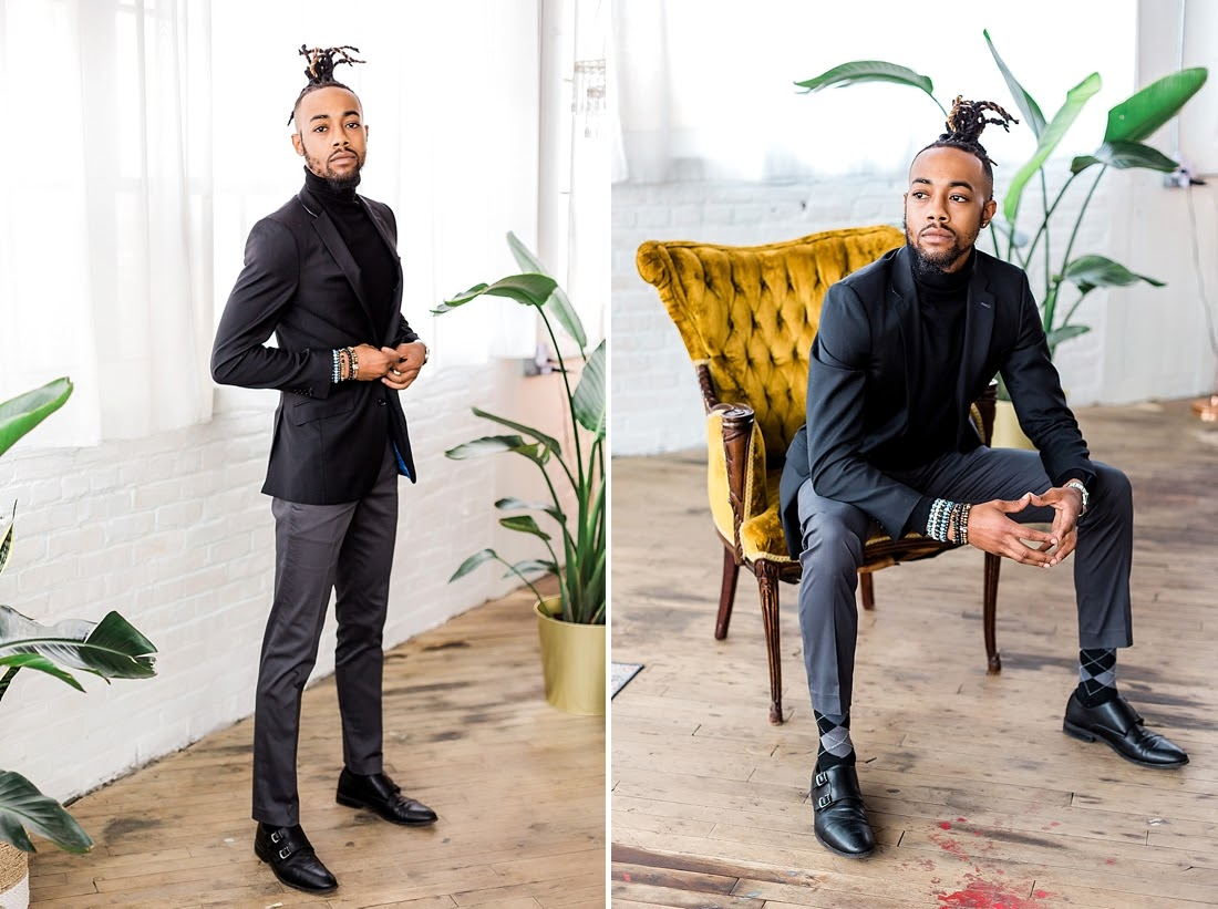 A split shot of a gentleman standing and sitting. Personal branding photos are important to marketing your business. Philadelphia photographer Ann Blake specializes in personal branding photos.